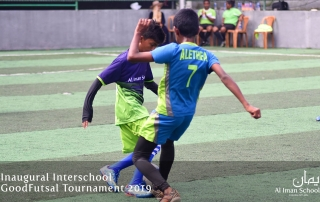 Images from the Interschool Futsal Tournament organized by Al Iman Schools. Alethea and an Imanian player